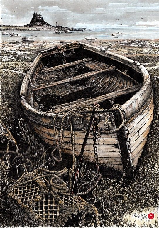 """""""Beached for Good"""" - 400x300mm Pen and Wash artwork by Kevin Rogers."""