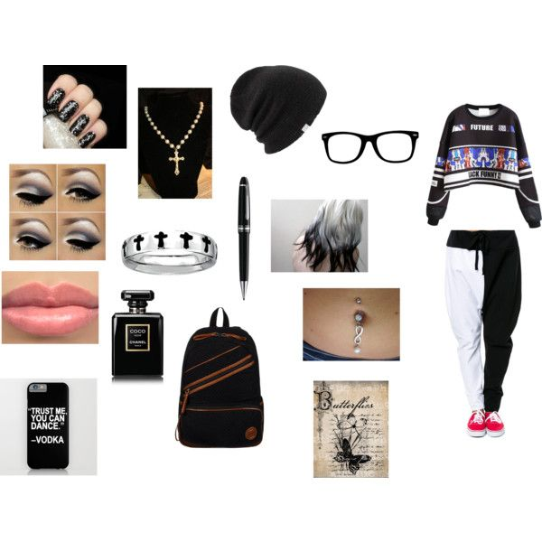 First day of school by fivesaucescondiment on Polyvore featuring polyvore, fashion, style, Roxy, Coal, Chanel, Illamasqua and Montblanc