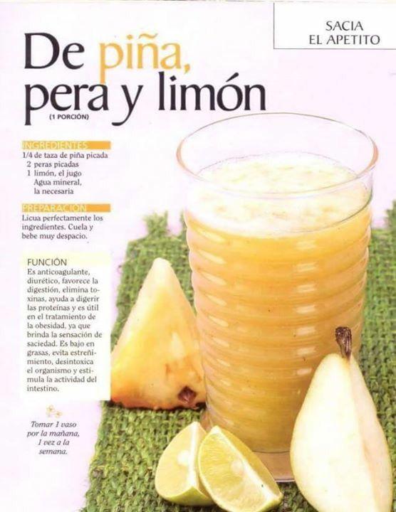 Licuado de Piña, Pera y Limón (sacia el apetito)