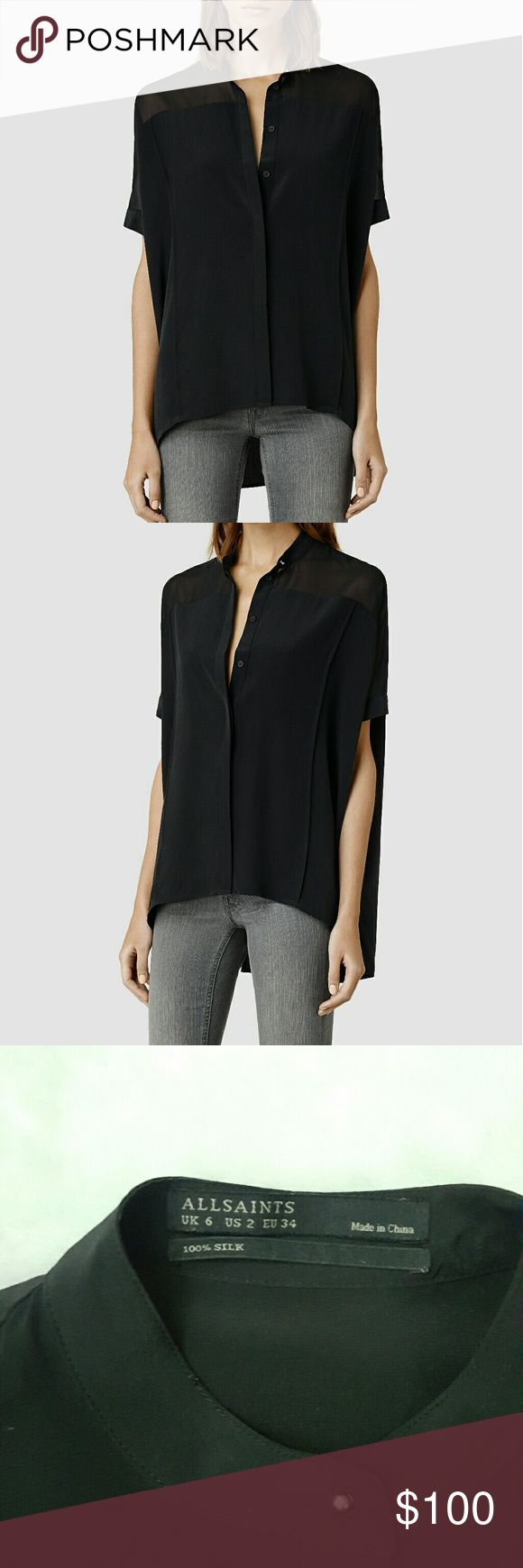 Allsaints Silk Fleet Shirt in Black US2 $268 ALLSAINTS' luxurious silk high-low oversized, relaxed shirt.  Size:  US2 Worn once! Gently pre-owned.  No rips, snags, or stains. All Saints Tops
