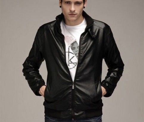 Stand Collar Faux Leather Jacket from #ikOala. Be the King of Cool!! Just $49.00.