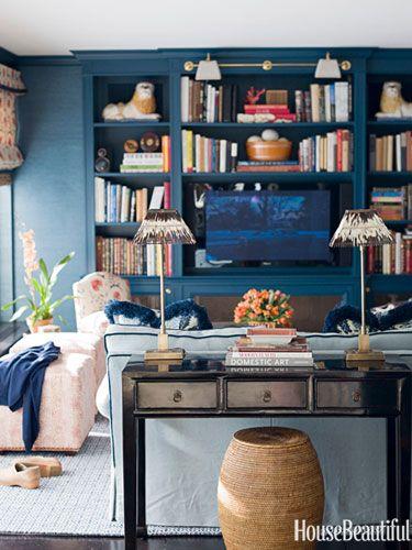 Blue media room. Design: Ashley Whittaker. Photo: Francesco Lagnese. housebeautiful.com #family_room #blue #media_room