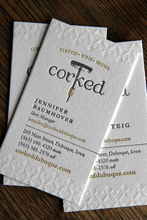 Letterpress printers - Business cards for Corked Dubuque. Crane Lettra 300gsm Pearl White with blind-impression and two custom Pantone inks.