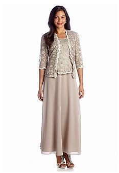 With a long gown that features a lace and sequin bodice and full chiffon  skirt, and a lace and sequin jacket, this outfit is perfect for a night out  on the ...