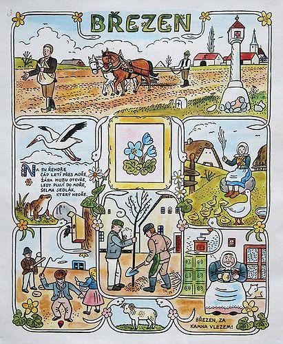 josef lada. illustration. calendar. czechoslovakia. march