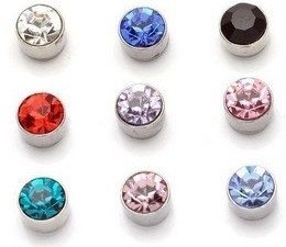 Rhinestone Magnet Unisex Earrings No Piercing