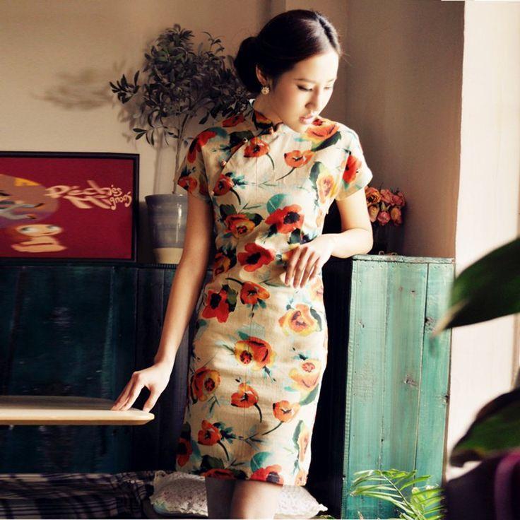 Free-shipping-2012-women-chinese-vintage-flower-fluid-short-cheongsam-qipao-dress-chinese-dress.jpg 800×800 pixels