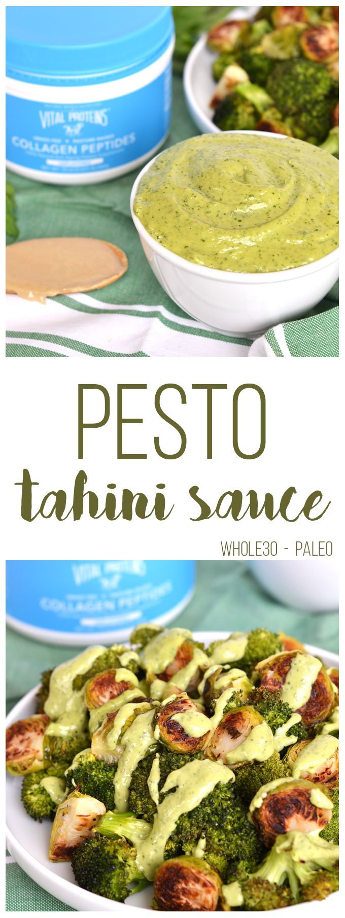 This Pesto Tahini Sauce is Whole30 & Paleo - perfect to top on veggies, meat or use as a dip. It is also packed with Collagen for an extra protein boost!