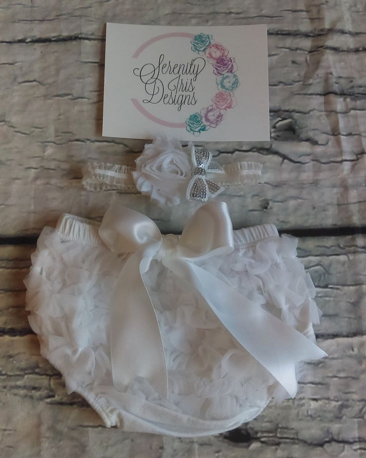 White Ruffle Diaper Cover With Matching Headband - ruffle bloomers, ruffle diaper cover, cotton diaper cover, chiffon ruffle bloomers, girl by SerenityIrisDesigns on Etsy