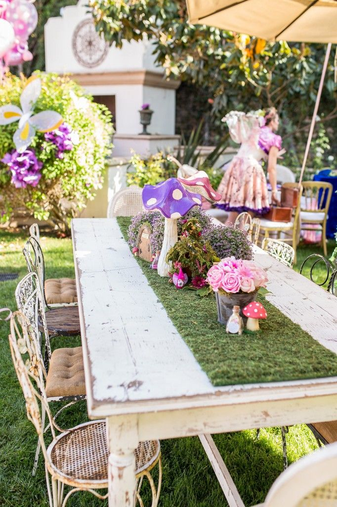 Fairy Wedding / Fairy Birthday Party Decoration Ideas / Table Runner ideas / Outdoor Party - I love the grass table-runners & creating a secret fairy house in the middle of the table.