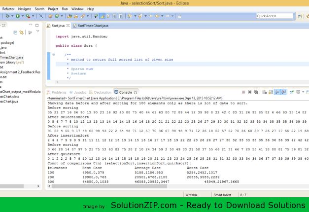 DL: http://solutionzip.com/downloads/selectionsort/  Compare the efficiency of Selection Sort, Insertion Sort and Quicksort. Approach: Starting from your second homework assignment, evaluate the efficiency of Selection Sort, Insertion Sort and Quicksort. For doing this, you should evaluate their corresponding implementations in each of the 3 cases (best, worst, and average) and count the number of operations performed (assignments, comparisons, and overall, separately).