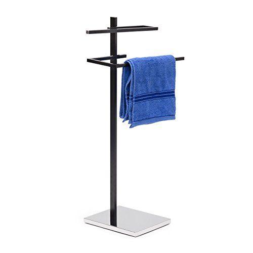Relaxdays Handtuchst�nder mit 2 Handtuchstangen in U-Form HBT 82 x 44 x 28 cm Handtuchhalter stehend mit eckiger Bodenplatte als Badetuchhalter und Kleiderbutler aus verchromtem Stahl matt, schwarz