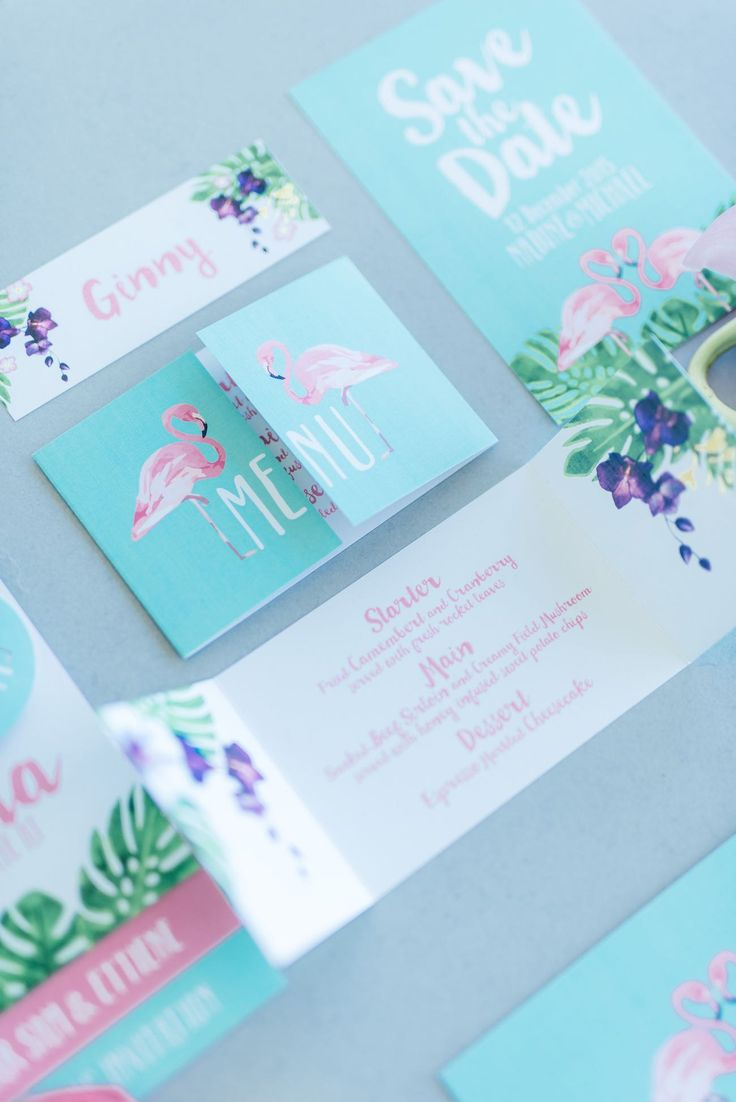 Mint, green and pink hand painted, water color style, tropical wedding invites with beautiful ferns and flamingos. Click for the most absolutely gorgeous Tropical Wedding ideas ever! http://www.confettidaydreams.com/tropical-wedding-ideas/