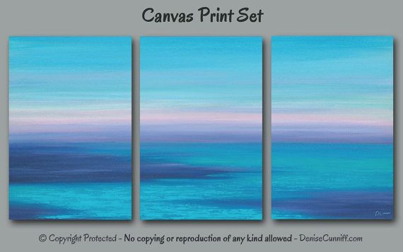 Abstract ocean painting - canvas art print set of 3. Ideal wall art for teal and navy blue home or office beach decor. Artist: Denise Cunniff - ArtFromDenise.com. View more info at https://www.etsy.com/listing/286910591