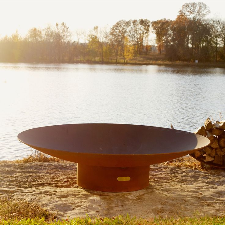 Fire Pit Art 60-in W Iron Oxide Patina Steel Wood-Burning Fire Pit