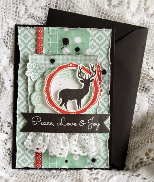"Mistra Hoolahan: Peace, Love and Joy Card - Kaisercraft ""North Pole""; Oct 2014"
