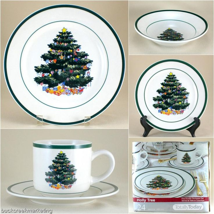 Totally Today Holly Tree Christmas Holiday Stoneware Pottery White Green New Set  sc 1 st  Pinterest & 64 best WANTED: Christmas Dish Set Ideas images on Pinterest | Dish ...