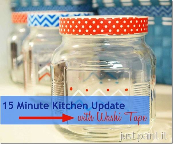 Add some washi tape to dollar store jars & baskets for quick, and cheap, kitchen update!