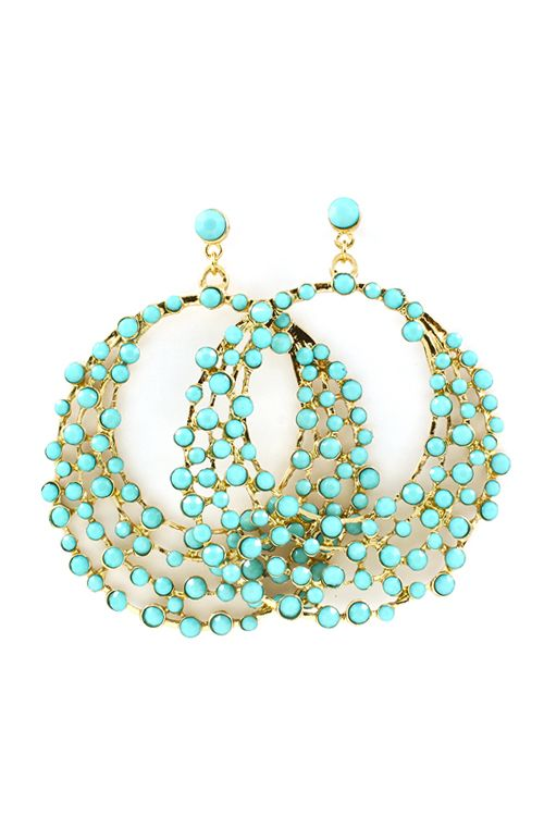 Statement Earrings in Turquoise.