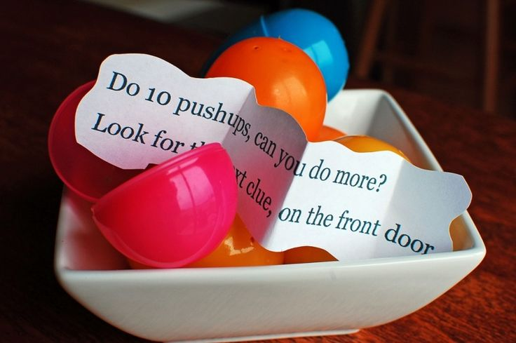 Easter egg treasure hunt. Kids have to jump, stretch and move before finding the next clue. My kids would love this.