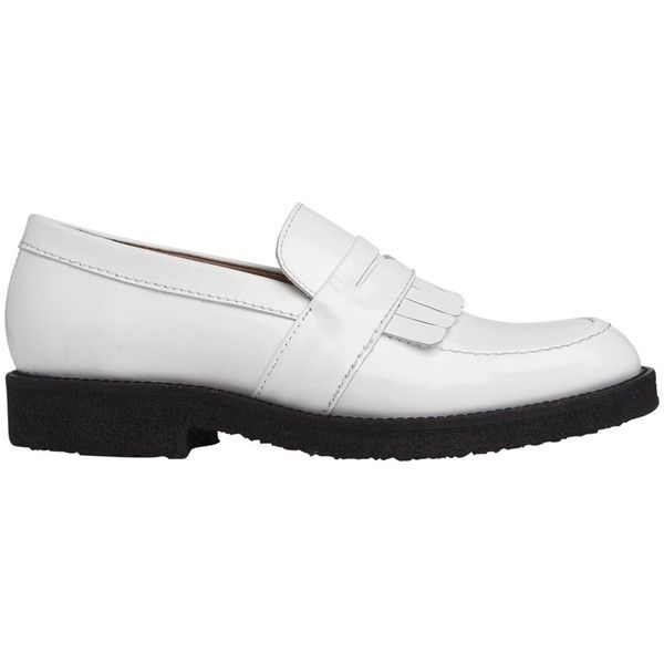 Whistles Kalo Leather Loafers , White (£140) ❤ liked on Polyvore featuring shoes, loafers, white, oxford shoes, block heel loafers, chunky loafers, white loafers and leather loafers