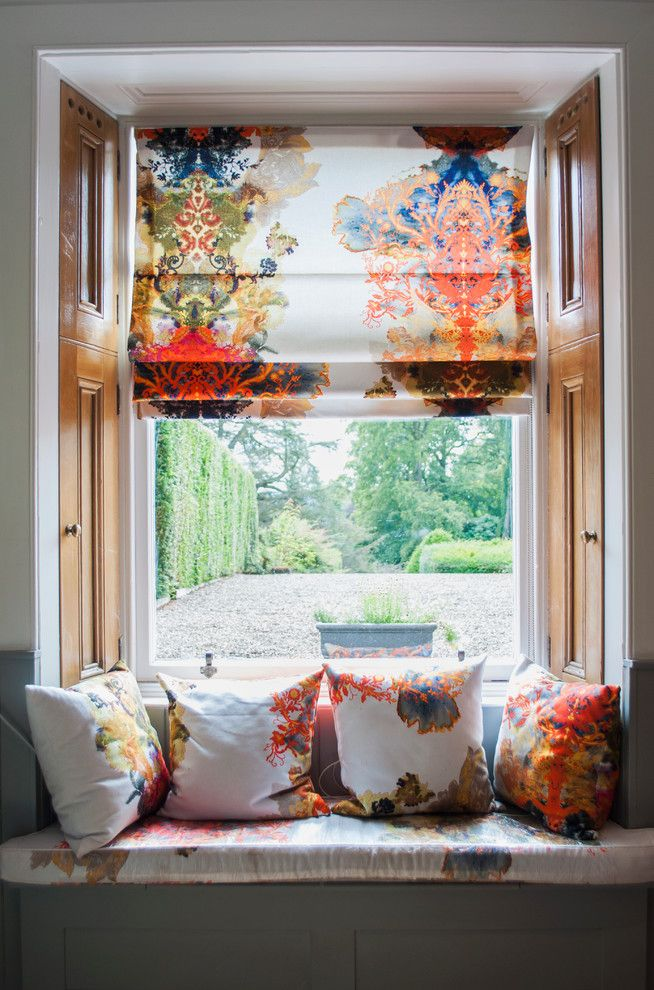 patterened roman shades damask floral coral decor blinds window seat ideas