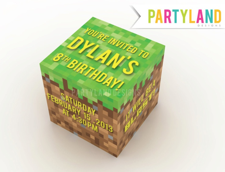 minecraft 3d printable cube party invitation