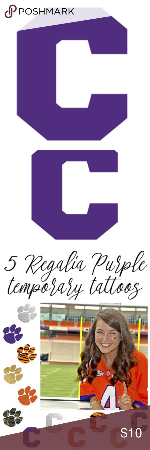 "5 ""C"" Purple temporary tattoos Selling a set of 5 ""C"" Purple temporary tattoos that would be great to wear to Clemson football games! Also selling on my website with free / cheap shipping -> www.magnoliaandscout.com Magnolia & Scout Accessories"