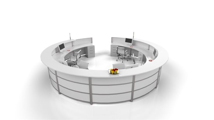 An orbit reception desk can be seen at most dealership locations -- Transaction top, work-surface and divider panels in Nova white with anodized posts.