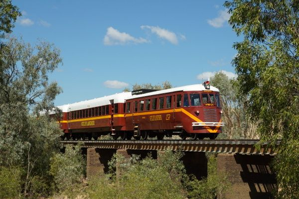 The Gulflander crossing the Norman River, near Normanton in outbakc Queensland