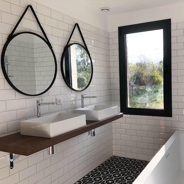 carreaux de ciment carreaux metro blanc  miroir barbier