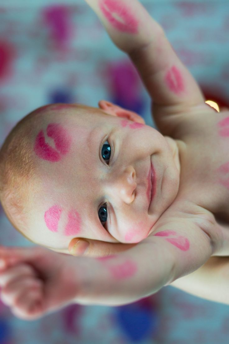 Newborn infant Valentines Day pictures Two month old