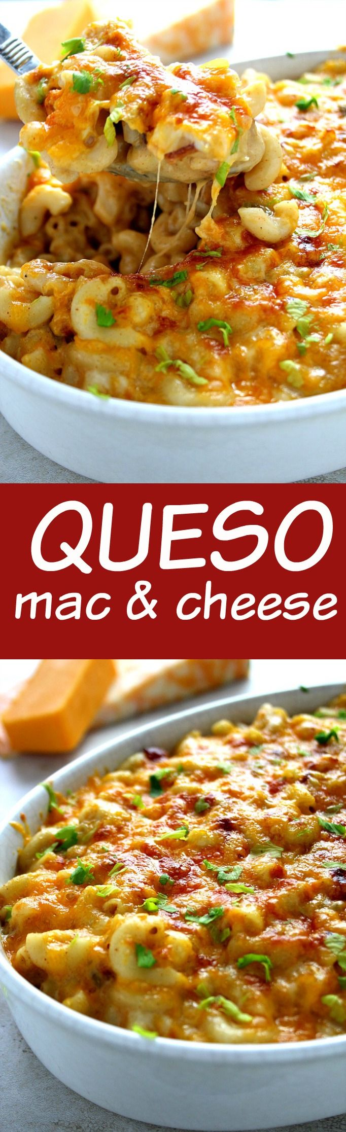 Queso Mac and Cheese with Bacon – cheesy macaroni baked in creamy, spicy queso sauce with bacon. Cheese lovers – this one is for you!