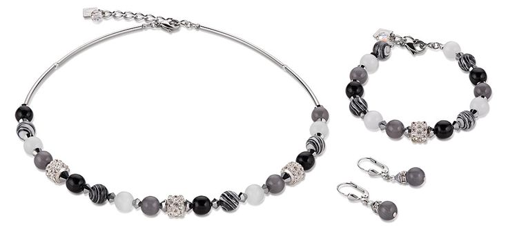 Swarovski Agate black white Necklace, Bracelet and Earrings 4816_1314 – coeur de lion jewellery
