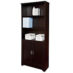 Realspace Magellan Collection 5 Shelf Bookcase With Doors Espresso by Office Depot & OfficeMax