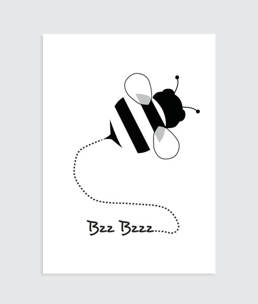 'Bzz bij zwart wit' is een lieve poster voor aan de muur in een kinderkamer.