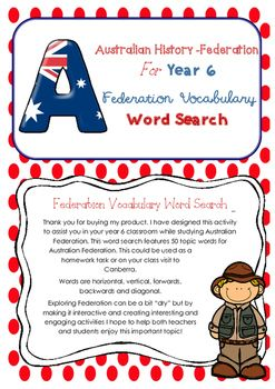A huge word search to use in  your year 6 classroom while studying Federation as part of your Australian History unit. This word search will complement your teaching of Federation and the key figures, events and ideas that led to Australias Federation and constitution as outlined in the Australian Curriculum(ACHASSK134).