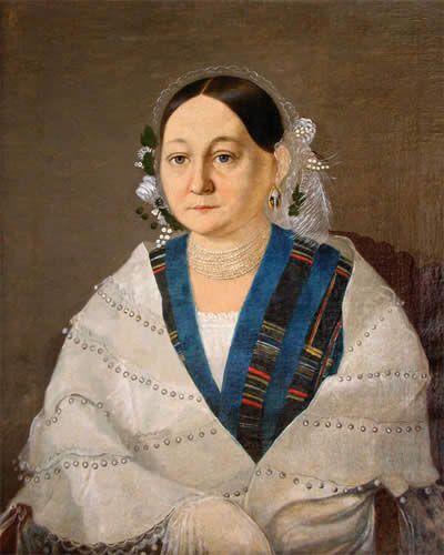 Неизвестный художник. Портрет женщины с ожерельем. 1850-е годы. Холст, масло -Вологодский худ.музей