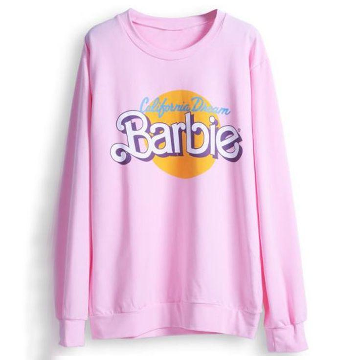 2017ファッション秋冬女性パーカースポーツウェアヒップホップトトロかわいいピンク長袖バービー手紙プルオーバースウェットシャツトップス