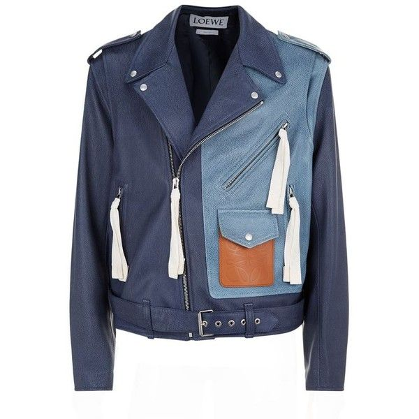 Loewe Patchwork Leather Biker Jacket (54 455 ZAR) ❤ liked on Polyvore featuring men's fashion, men's clothing, men's outerwear, men's jackets, mens zipper jacket, mens blue leather jacket, mens leather moto jacket, mens biker jacket and mens leather biker jacket