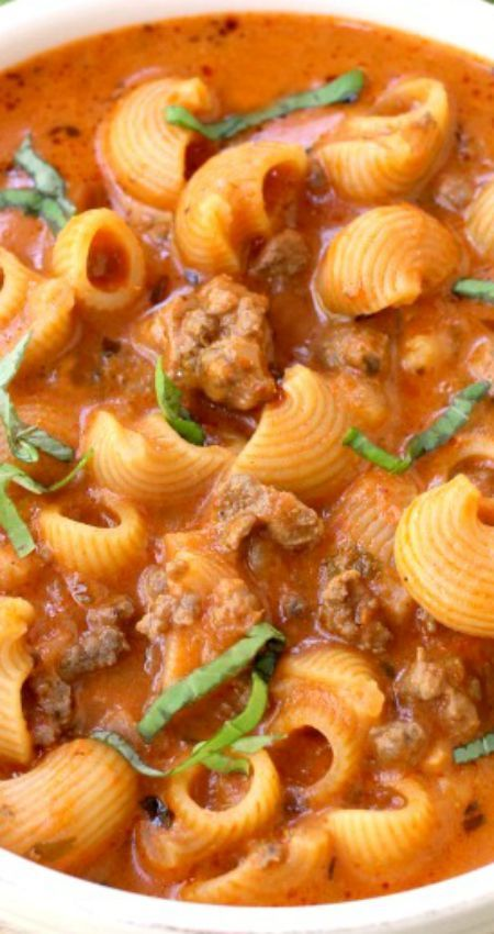 Beefy Tomato Soup ~ Creamy tomato soup loaded with beef and pasta, made with an easy shortcut! (Easy to sub or leave out meat.)