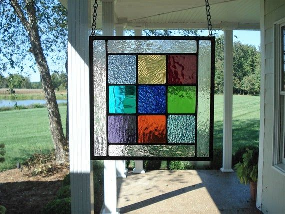 Stained Glass panel ---small /& colorful