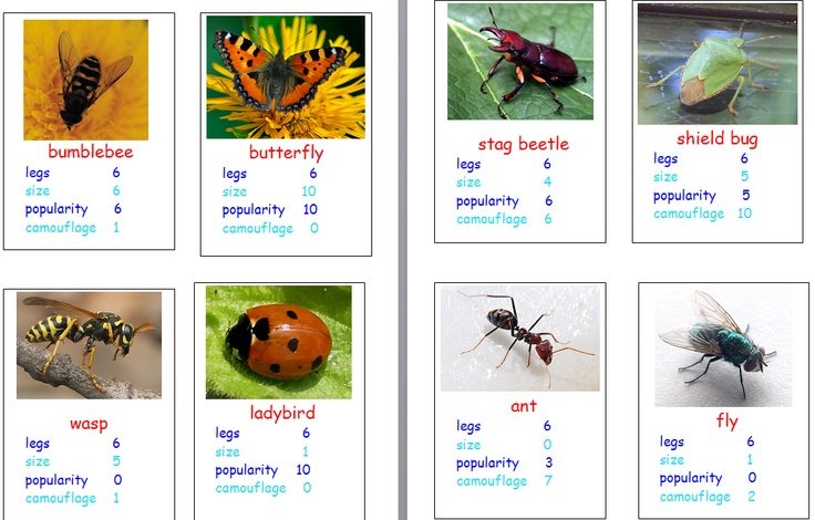 Fantastic 'Top Trumps' cards of common minibeasts [from cariad2] with simplified info for younger pupils