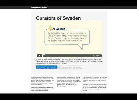 Cyber Grand Prix: Curators of Sweden // Swedish Institute/Visit Sweden; Volontaire Stockholm, Sweden
