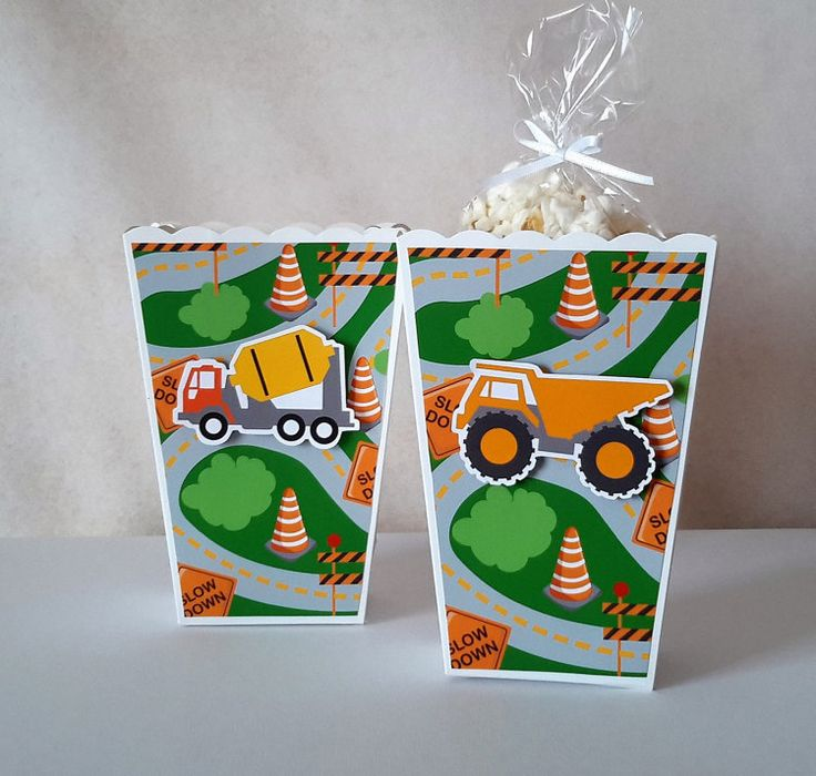 Construction Popcorn Boxes 10 CT Party by AdrianaOrtizDesigns