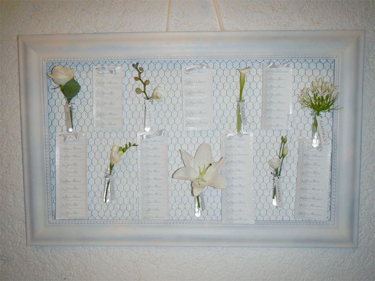 un plan de table mariage avec les noms de fleurs pourquoi pas un cadre du grillage un coup. Black Bedroom Furniture Sets. Home Design Ideas