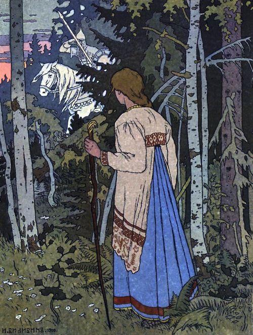 Illustration for Vasilisa the Beautiful (Russian tale) Painting by Ivan Bilibin. Reino de Cordelia