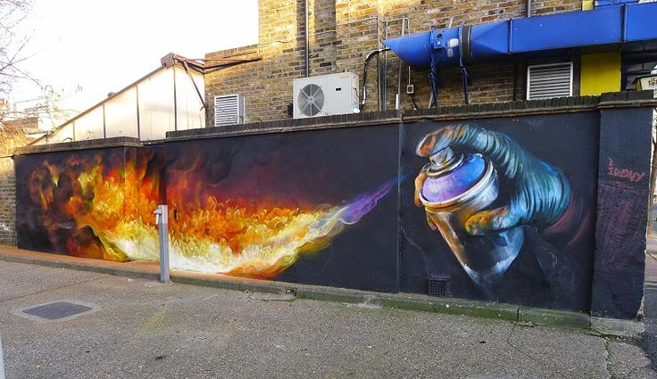 Irony Paints 'Burn' Mural on the Streets of London