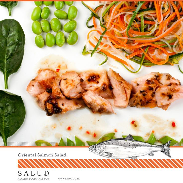 Oriental Salmon salad  Healthy prepared take home meals delivered to you.   www.salud.co.za