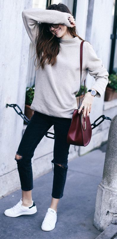 Cropped jeans + perfect choice + practical summer style + Beatrice Gutu + cropped, distressed black jeans + simple beige sweater + awesome and achievable style   Sweater: Zara Man, Jeans: Asos, Sneakers: Adidas.
